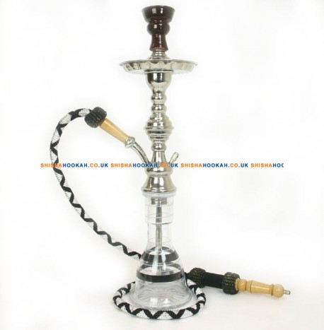 "22"" Egyptian Shisha Pipe Clear/Blue Vase"