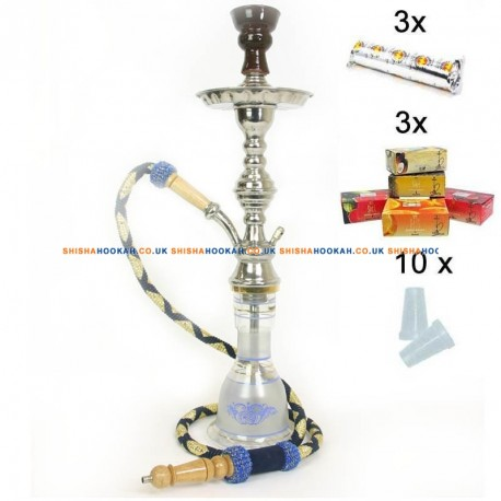 "22"" Egyptian Pipe Kit: 3x50g Herbal + 30 Coals + 10 Tips"
